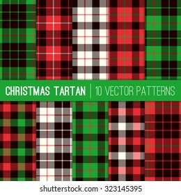 Christmas Tartan Plaid Patterns. Red, Green, White and Black Tartan Plaid and Pixel Gingham Check Patterns. Modern Tartan Xmas Backgrounds. Vector EPS File Pattern Swatches made with Global Colors.