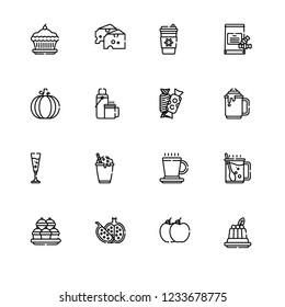 Christmas tasty food, cakes and cookies, sweets, tableful color flat icon set EPS 10 vector format. Transparent background.