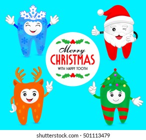 Christmas teeth character concept.  snowflake, Santa, deer and Christmas tree. Illustration isolated on blue background.