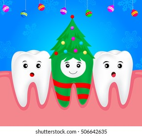 Christmas teeth character concept.  Tooth on Christmas tree costume. Illustration