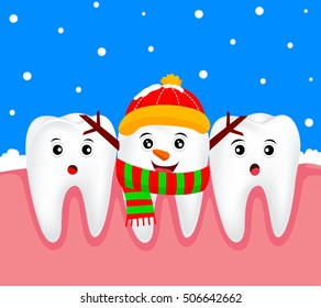 Christmas teeth character concept.  Tooth on snowman costume. Illustration
