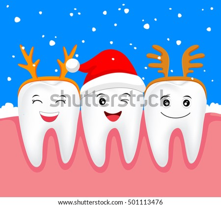 Christmas Teeth Character Concept Tooth Santa Stock Vector (Royalty ...