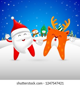 Christmas Teeth Characters design, Santa Claus dance with Reindeer. Merry Christmas and Happy new year concept. Illustration isolated on blue background.