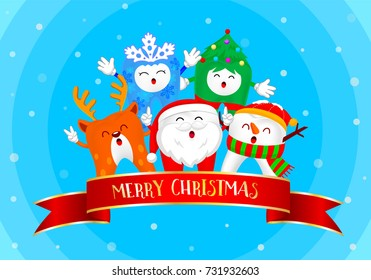 Christmas Teeth Characters, Santa Claus, Snowman, Tree and Reindeer. Merry Christmas and Happy new year concept. Xmas elements design, illustration. Isolated on blue  background.