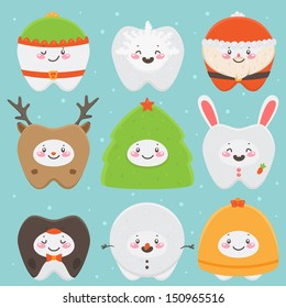 Christmas teeth: elf, snowflake, Santa, deer, Christmas tree, bunny, penguin, snowman, bell