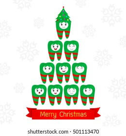 Christmas teeth fancy. Dental Christmas card. illustration isolated on white background.
