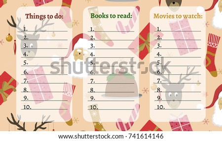 Christmas Template Do List Seamless Holiday Stock Vector (Royalty ...