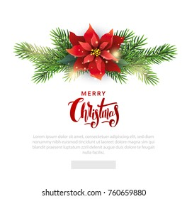 Christmas template for emailing list with Poinsettia flower, fir branches and handdrawn lettering.