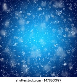 Christmas template with white blurred and clear snowflakes on blue background. EPS 10