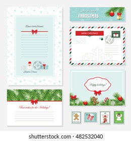 Christmas templates set. Letter from Santa Claus, Greeting cards, banner, envelope and postage stamps. Pattern with gingerbread man added in swatches.