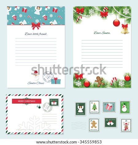 christmas templates set letter from santa claus letter to santa envelope postage