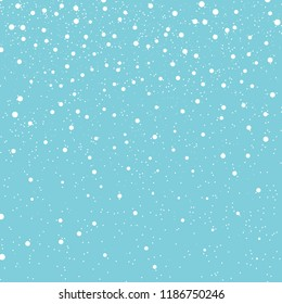 Christmas texture. Falling snow background. Vector illustration with snowflakes. Winter snowing sky. Eps 10.
