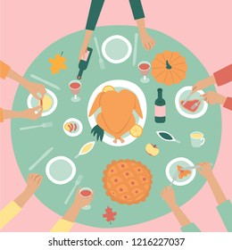 Christmas & Thanksgiving Holiday card. Family celebrating Thanksgiving day turkey at the table, with drinks and eating fruit. Vector illustration in flat design style.