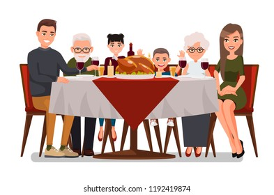 Christmas & Thanksgiving inspired Holiday card with happy family celebrating Thanksgiving day. Turkey at the table.Vector flat design family. Father, Mother, Daughter, Son, Grandmother and Grandfather