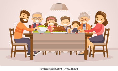 Christmas & Thanksgiving inspired Holiday card with caucasian family celebrating Thanksgiving day turkey at the table. Vector flat design family Holiday weekend illustration for poster, card, banner.