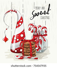 Christmas theme, abstract christmas tree, stack of cookies with red ribbon and candy canes in glass jar, with text Merry and sweet Christmas on bright background, vector illustration, eps 10 with