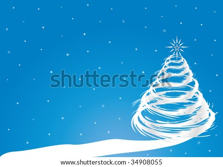 Christmas Theme Blue Background White Path Stock Vector Royalty