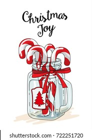 Christmas theme, candy canes in vintage glass jar with red ribbon and text Christmas joy on white background, vector illustration, eps 10 with transparency
