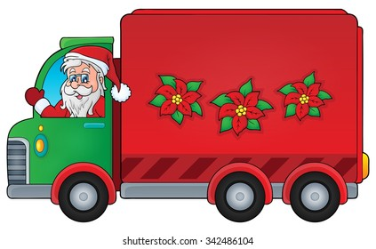 Christmas theme delivery car image 1 - eps10 vector illustration.