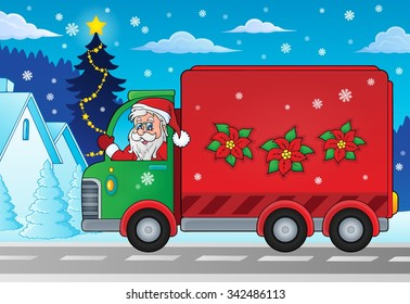 Christmas theme delivery car image 2 - eps10 vector illustration.