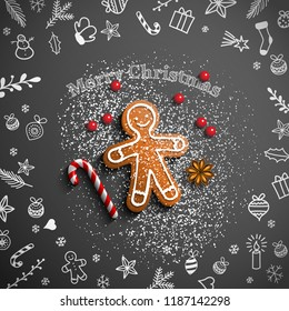 Christmas theme, gingerbread man lying on blackboard with chalk doodles, candy cane, sugar and some berries, vector illustration, eps 10 with transparency