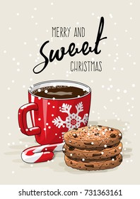 Christmas theme, Christmas theme, red cup of coffee with red ribbon and stack of cookies an candy cane, with text Merry ans sweet Christmas on bright background, vector illustration, eps 10 with