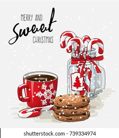 Christmas theme, Christmas theme, red cup of coffee with red ribbon, stack of cookies and candy canes in glass jar, with text Merry and sweet Christmas on bright background, vector illustration, eps
