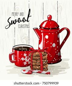 Christmas theme, Christmas theme, red cup of coffee, candy cane, stack of cookies and tea pot, with text Merry and sweet Christmas on bright background, vector illustration, eps 10 with transparency