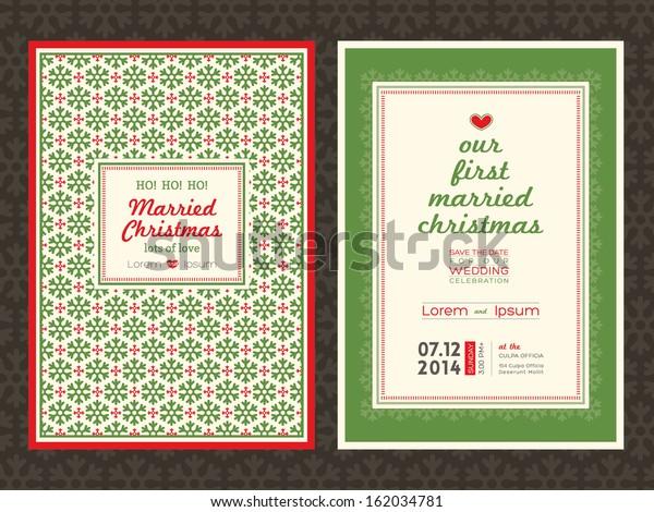 Christmas Theme Wedding Invitation Card Template Stock Vector
