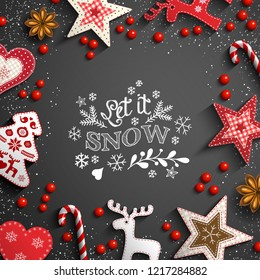 Christmas theme with white chalk doodles, rustic decorations and text Let it snow on black background, vector illustration, eps 10 with transparency and gradient mesh.