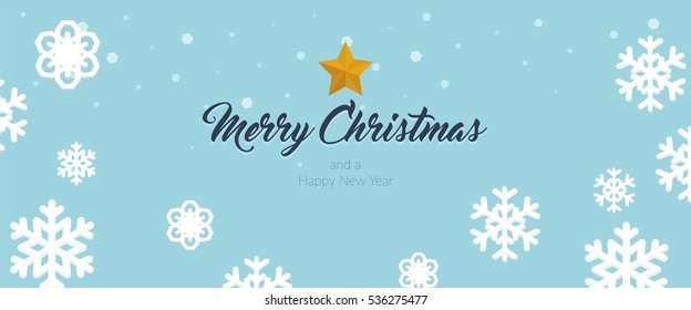 Christmas themed banner with different shaped snowflakes and a Merry Christmas and a Happy New Year message horizontal vector illustration