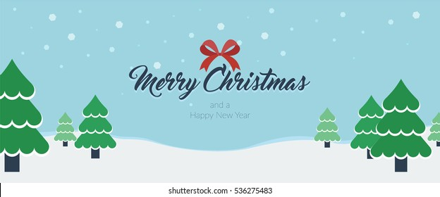 Christmas themed banner with fir trees in snow and a Merry Christmas and a Happy New Year message horizontal vector illustration