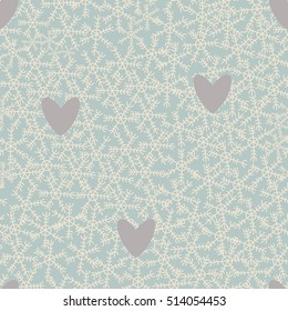 Christmas themed snowflakes pattern with pastel grey hearts and pastel blue background. Isolated vector elements and hand drawn objects.