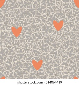 Christmas themed snowflakes pattern with pastel orange hearts and pastel grey background. Isolated vector elements and hand drawn objects.  Seamless repeat for your design.