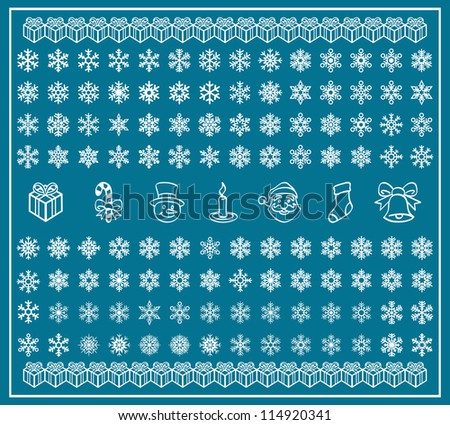 christmas themes snowflakes christmas icons new stock vector