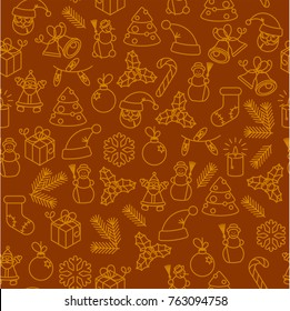 Christmas thin line icon seamless pattern, Happy New Year Holiday tile background. Doodle outline  elements, snowflakes, snowman, Santa, holly, gift box, garland, candle, candy wrapping paper texture.