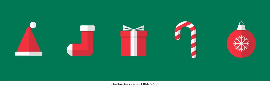Christmas things like santa hat, christmas stocking, present box, candy cane, christmas ball. With only red & white gimmick. Green plain background. Simple flat style.