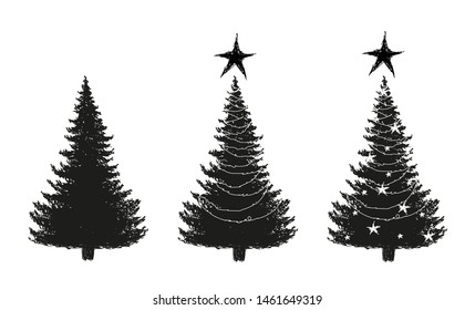 Christmas three silhouette. A set of sketches of a New Years tree from the forest and decorated with stars and garlands. Doodle hand drawing. Stock vector.