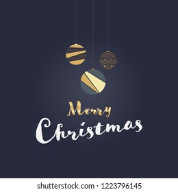 Christmas time. Christmas card with modern bowls in golden colors. Text : Merry Christmas