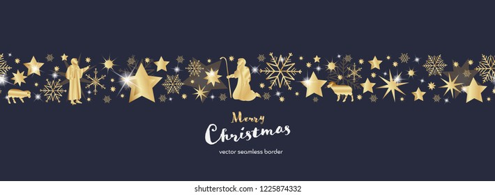 Christmas time. Dark blue and golden snowflake and star seamless border with shepherds. Text : Merry Christmas