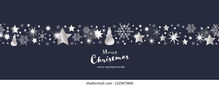 Christmas time. Dark blue and silver snowflake and star seamless border with snowman. Text : Merry Christmas