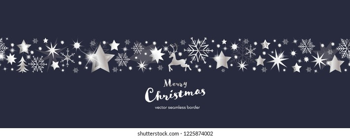 Christmas time. Dark blue and silver snowflake and star seamless border with reindeer and tree. Text : Merry Christmas