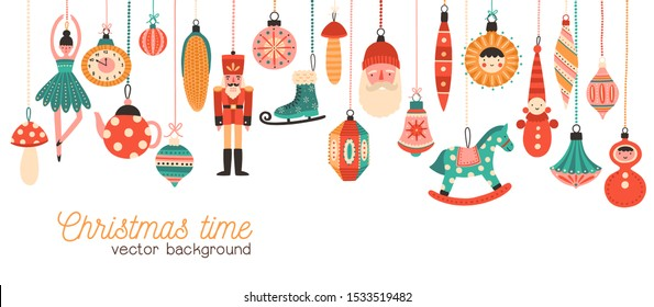 Christmas time flat banner vector template. Xmas tree decorations illustration with typography. Decorative toys hanging on strings. Traditional new year celebration accessories on white background.