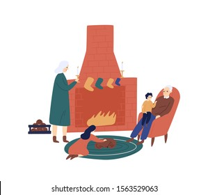 Christmas time with grandparents flat vector illustration. Elderly couple enjoying cozy evening near fireplace cartoon characters. Grandchildren visiting granny and grandad for Xmas celebration.