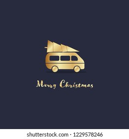 Christmas time. Mini van transporting a Christmas tree. Text : Merry Christmas