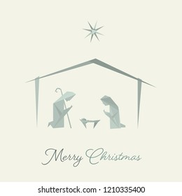 Christmas time. Nativity scene with Mary, Joseph and baby Jesus in origami style. Text : Merry Christmas