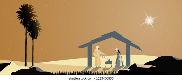 Christmas time. Nativity scene with Mary, Joseph and baby Jesus.