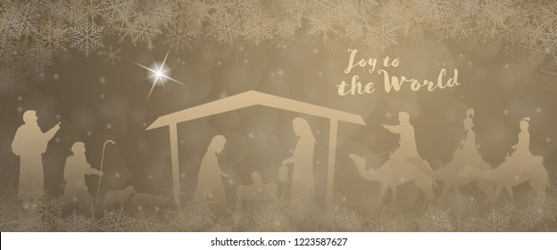 Christmas time. Nativity scene with Mary, Joseph, baby Jesus, shepherds and three kings in Christmas landscape.