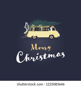 Christmas time. Santa Claus in mini van with tree on the roof. Text : Merry Christmas
