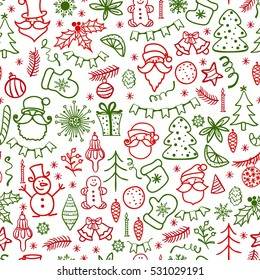 Christmas time seamless background. Hand drawn doodle icons design . Traditional winter holiday elements with Santa Claus isolated on white background. Doodle style vector illustration